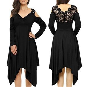 Dresses & Skirts - Black Lace Back Asymmetric Hemmed Dress